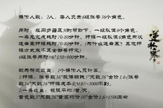 逆水寒双开搬砖建议,一天稳定赚100元RMB
